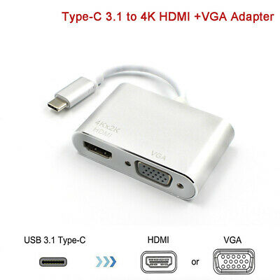 AU15.95 • Buy USB 3.1 Type C To VGA + HDMI USB-C Multi Port Charging HUB Converter Adapter AU