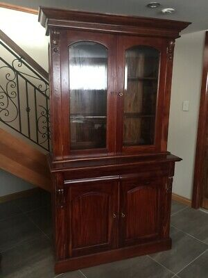 AU1195 • Buy Beautiful Solid Mahogany Victorian Style Bookcase/Display Cabinet /Buffet Hutch