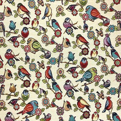 £14.50 • Buy Tapestry Fabric Floral Birds Upholstery Furnishings Curtains 140cm Wide
