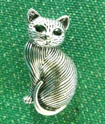 SILVER CAT Green Eyes Art Deco Style BROOCH Birthday Mothers Day Gift • 8.99£