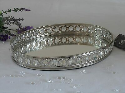 £19.95 • Buy Silver Metal Mirror Glass Crystal Gem Candle Perfume Jewellery Display Oval Tray