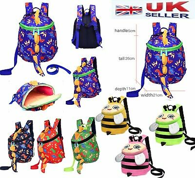 Baby Toddler Children Dinosaur Bee Animal Safety Backpack Harness Rein Bag - UK • 10.45£