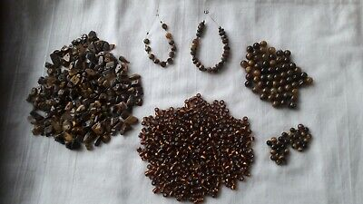 Job Lot -  Miscellaneous Tiger's Eye And Foil Seed Beads  • 3.99£