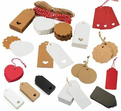 50/100 Christmas Kraft Paper Gift Tags Price Wedding Scallop Label Blank Luggage • 4.19£