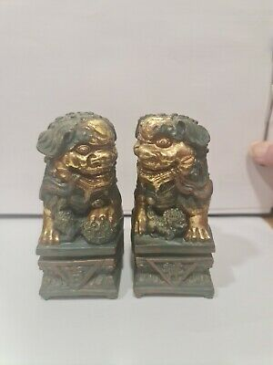 Pair Of Metal Chinese Foo Dogs 4.5 Inches Tall. • 4.99£