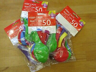 40 X Keep Calm You're Only 50 Birthday Balloons 50th Neviti Mixed Colours • 1.99£