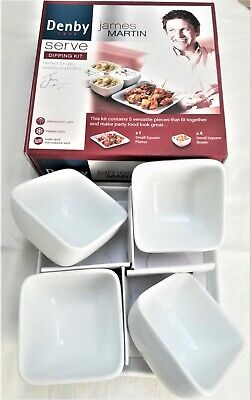 £20.99 • Buy Denby James Matin 5 Piece Porcelain/ China Serve Dipping Kit Small Square Bowls