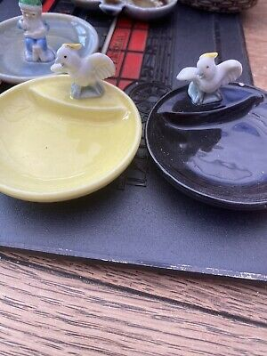 VINTAGE WADE WHIMSIES / WHIMTRAYS X 2  Parrot DISH / PIN TRAY Must See • 4£