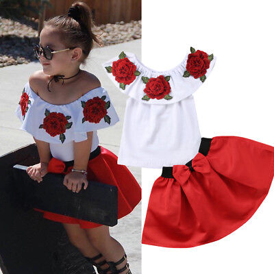 Toddler Kids Baby Girls Off Shoulder Top Tee Mini Skirt Dress Outfit Set Clothes • 8.99£