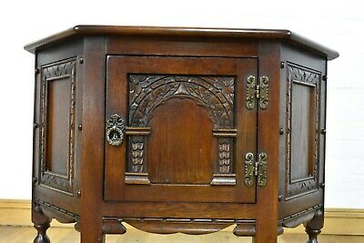 AU262.95 • Buy Antique Style Carved Oak Side Cabinet / Cupboard