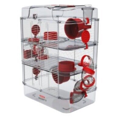 Zolux Rody Trio Hamster Cage Red Used • 33£