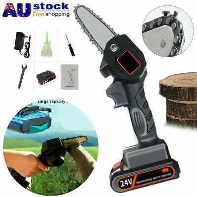 AU69.59 • Buy 4'' Mini Rechargeable Cordless Electric Chainsaw 24V Battery Wood Cutter Saw AU