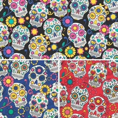 £4.40 • Buy Polycotton Fabric Halloween Floral Day Of The Dead Mexican Sugar Skulls Flowers