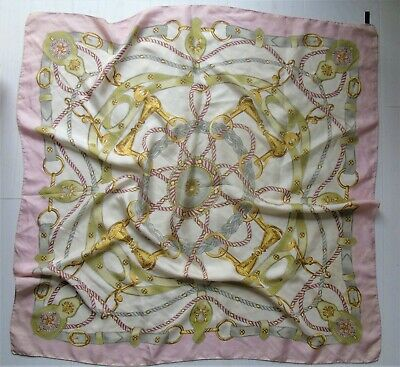Italian Pure Silk Cream Pink And Gold Equestrian Horsebit Style Large Scarf  • 12£