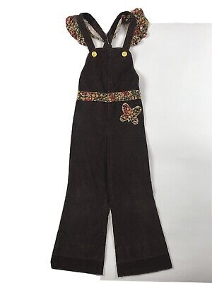 AU40.80 • Buy Vintage 70's SEARS Corduroy Bell Bottom Overalls 6 Brown Floral Hippie Flare I1