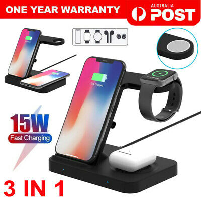 AU30.99 • Buy 3in1 Fast Wireless Charger Dock For Charging Samsung Galaxy Apple IPhone IWatch