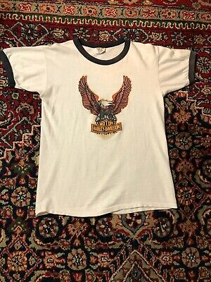$ CDN303.29 • Buy Vintage 70s Harley Davidson Eagle T Shirt Size Meduim Roanoke VA Made In USA