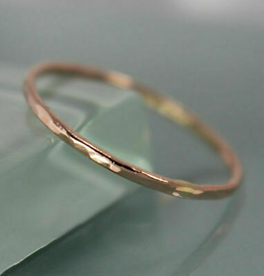 AU95.98 • Buy 9k SOLID Rose Gold Thin 1mm Wedding Stacking Band Ring Hammered  Fine Rings