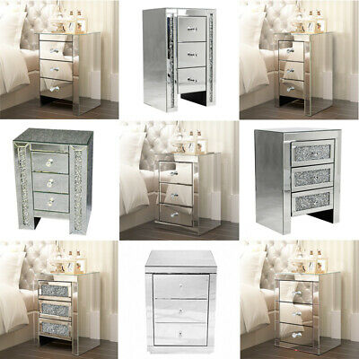 £129.90 • Buy Bedside Cabinet Table Bedroom Crystal Mirrored Glass 3/2 Drawers Dressing Tables