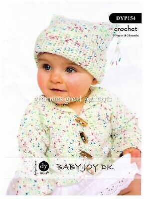 Crochet Pattern For Cute Baby's Cardigan And Hat - DK - Laminated Pattern • 1.75£