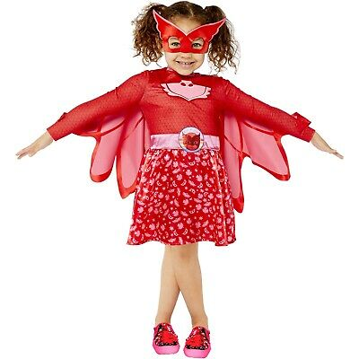 Girls PJ Masks Pink Owlette Fancy Costume Dress Cape + Mask Superhero • 14.99£
