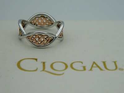 Clogau Silver & 9ct Rose Gold Welsh Royalty Ring RRP £219.00 Size K • 110£