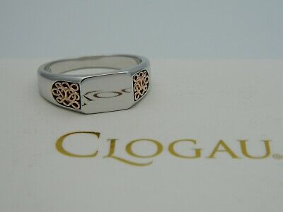 Clogau Silver & 9ct Rose Gold Welsh Royalty Signet Ring RRP £129.00 Size T • 85£