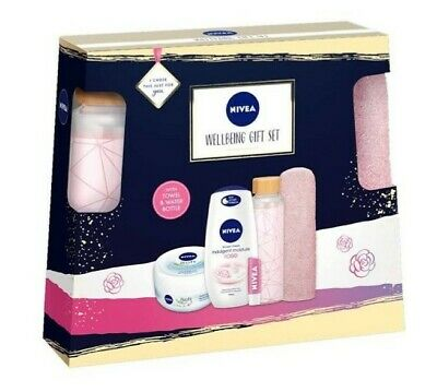 Nivea Wellbeing Gift Set With Towel & Water Bottle - New - For Her • 10£