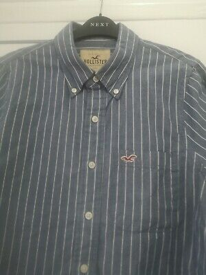 Boys Hollister Striped Blue And White Shirt Large • 1.60£