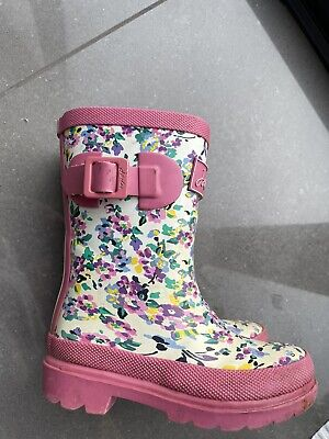 Joules DTSY Flower Print Wellies Infant 8 (fit Age 3 Approx) Used With Box • 0.99£