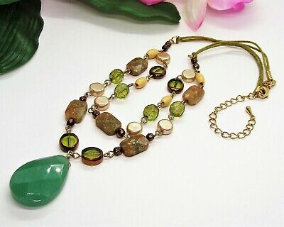 $ CDN1.26 • Buy Beautiful LIA SOPHIA Goldtone Green Glass Faceted Stone Beads Pendant Necklace