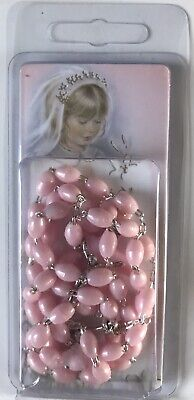 Girl's Pink First Holy Communion Rosary Beads - A Great Gift Idea - New & Sealed • 3.50£