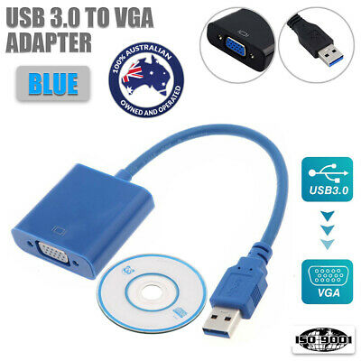 AU18.63 • Buy For Win 7,8,10 USB 3.0 To VGA Cable Video Graphic External HD 1080P Adapter@MS