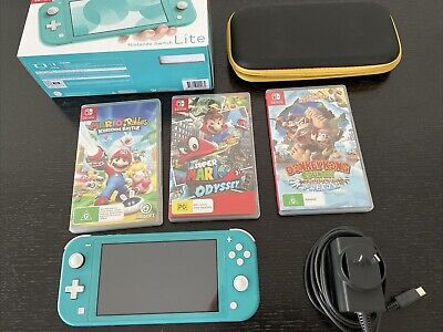AU200 • Buy EUC Nintendo Switch Lite Handheld Console - Turquoise + Case + 3 Games