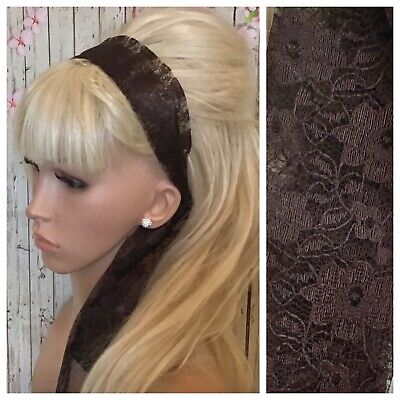 £2.99 • Buy BROWN FLORAL LACE FABRIC HEADBAND HAIR TIE SCARF SELF TIE BOW 80s RETRO STYLE