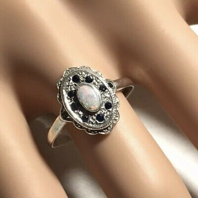 Estate 1980 P & R Bushell 925 Silver Opal & Sapphire Cluster Ring. Size P. 2.36g • 50£