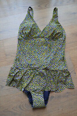 Blue- Yellow Skirted Swimsuit.  Size 14.  NEXT.  NEW • 5£