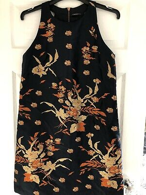 Special Occasion Dress By M&S LIMITED COLLECTION Size 12 Navy Gold Floral • 8£