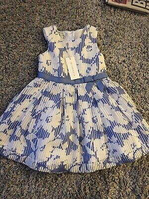 John Rocha Girls Blue & White Floral Bow Dress Age 2-3 Years Brand New With Tags • 12£