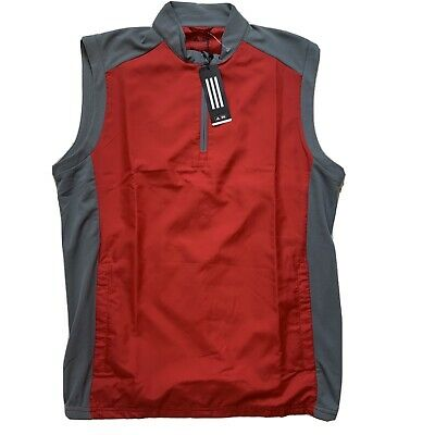 $ CDN25.42 • Buy Adidas Adiclub Wind Vest Sleeveless Jacket Red Gray Water Resistant Golf Mens M