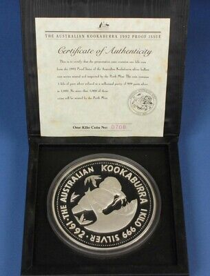 AU1449.99 • Buy Australia: 1992 $30 1kg 999 Proof Silver Kookaburra, Cased With Certificate
