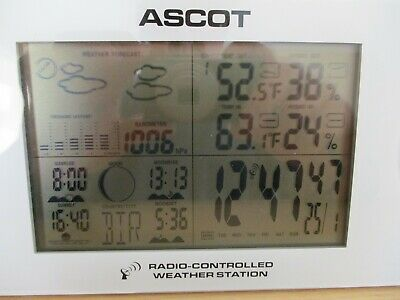 Ascot Radio Controlled Weather Station With Outdoor Sensor And Instructions • 6.50£