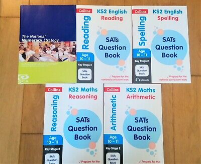 4 KS2 SAT Workbooks In Maths & English & Invaluable Primary Maths Teaching Guide • 12.50£