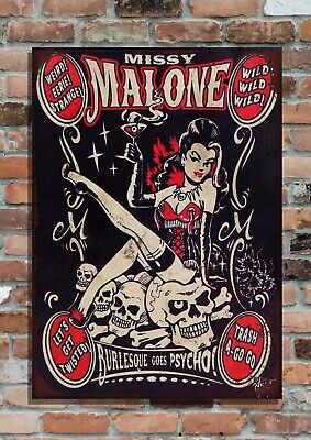 Burlesque Goes Psycho' Retro Aged Metal Advertising Sign-2 Sizes • 6.95£