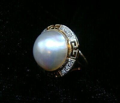 $450 • Buy 14K Yellow Gold Sz 7 Mabe Pearl Ring With Greek Key Detail