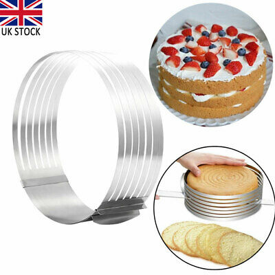£10.36 • Buy Adjustable Stainless Steel Cake Leveller Layer Slicing Ring Cutter Mold Tool UK