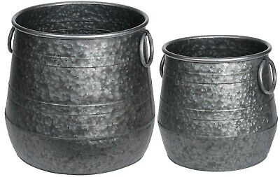 Set Of 2 Galvanised Steel Modern Large Planters Plant Pots Indoors / Outdoors • 36.99£
