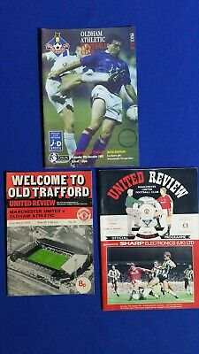 3 Manchester United Vs Oldham Athletic Football Programmes Joblot. • 2£