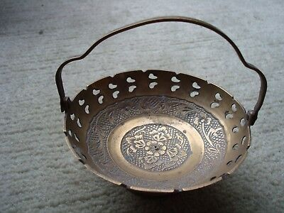 Vintage Small Brass Bowl With Folding Handle And Pierced Floral Design 4  Across • 6£
