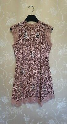 £9 • Buy Topshop Pink & Black Embellished Mini Dress With Lace Trim. Excellent Condition